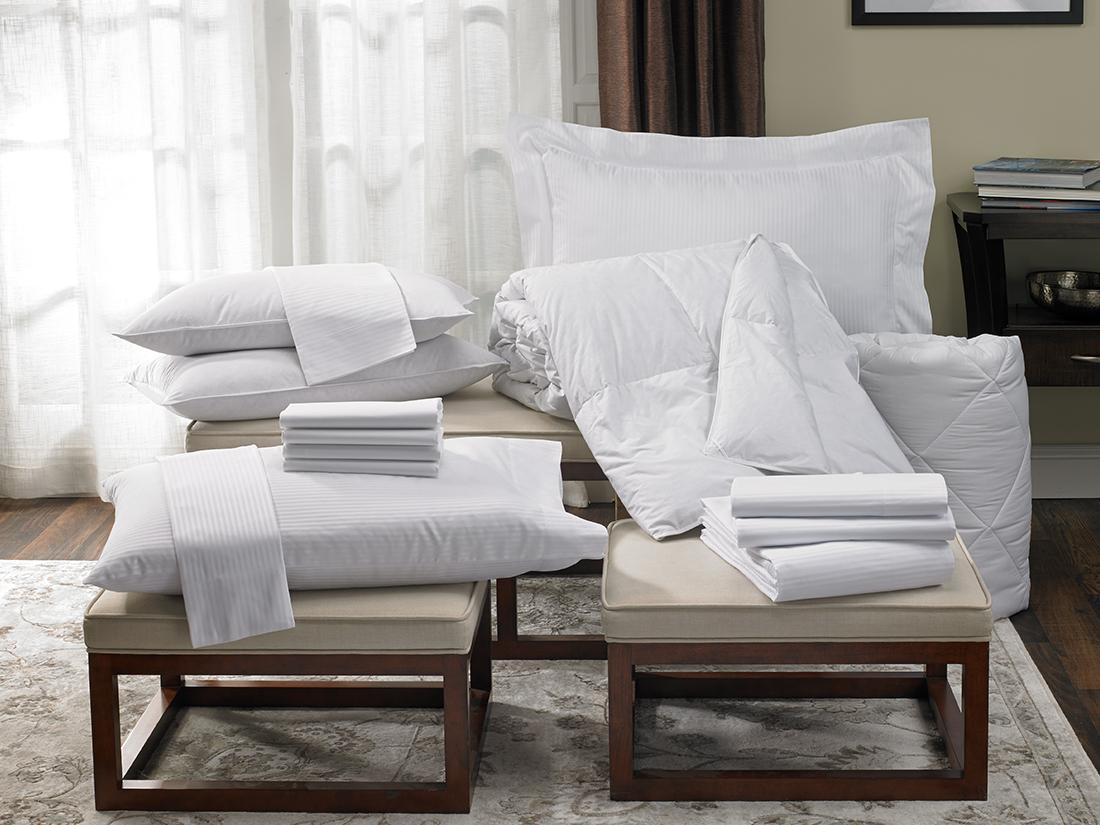Cotton Stripe Bedding Set Hilton To Home Hotel Collection