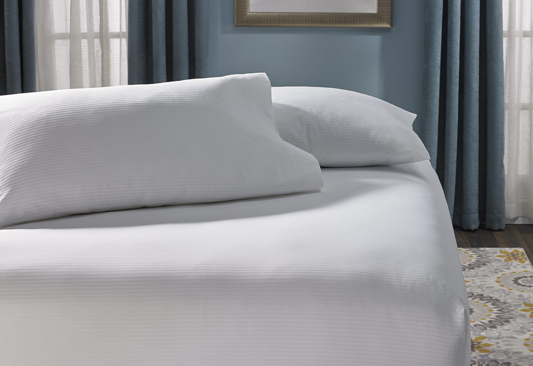 Cotton Stripe Fitted Sheet Hilton To Home Hotel Collection
